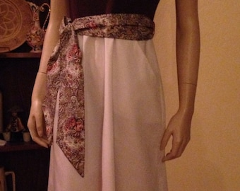 Great Seventies Brown and White Cotton Dress with Paisley Sash