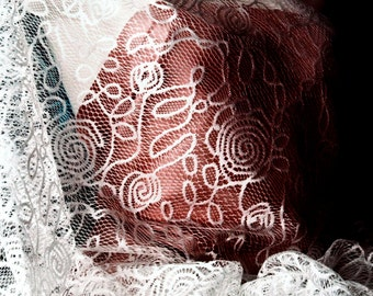 White Floral Lace for Flower Girl dress, Adolescent style Abstract Rose Spiral pattern Lace Fabric for DIY Teenage Dress Shawl Ready to ship