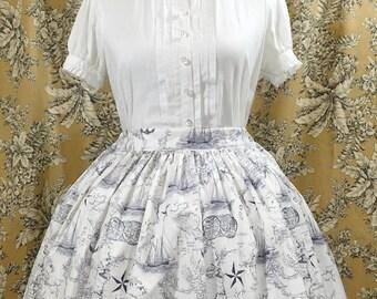 White and Navy Nautical Lolita Skirt