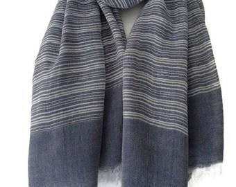 Blue Grey Striped Scarf , Ladies Stripey Scarf , Navy Gray Wrap with Stripes, Dark Blue Shawl