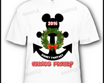 4 Pack Christmas Holiday Family Friends Anchor Disney Cruise Vacation T-Shirts