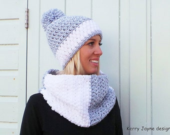 WOMENS CROCHET HAT pattern Crochet Cowl pattern Winter hat pattern Bobble hat pattern Cowl crochet pattern Pom pom hat Instant download -Usa