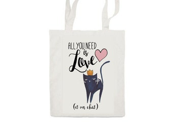 French Cat Totebag - All you need is love and a cat illustration - Cotton Bag - LIMITED EDITION