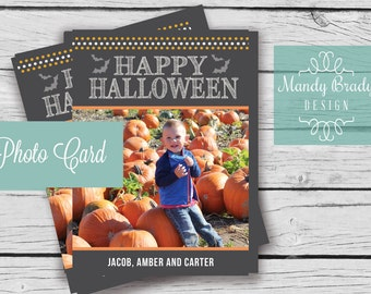 Halloween Photo Card - Printable Digital File, Digital Halloween Photo Card, Happy Halloween Printable Card, Trick or Treat Photo Card