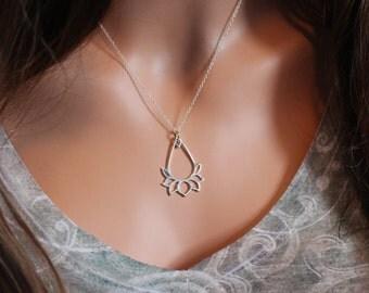 Sterling Silver Lotus Pendant Necklace, Lotus Pendant Necklace, LargeLotus Flower Necklace, Teardrop Zen Necklace, Yoga Lotus Necklace