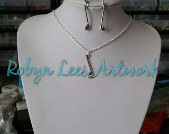 Silver Golfer Golf Club and Ball Necklace and or Earrings Set on Silver Chain, Earring Hooks or Leverback