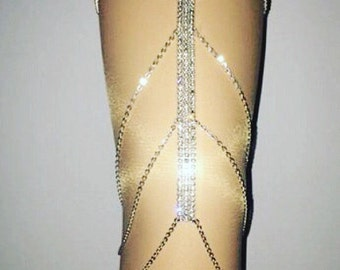 Rhinestone thigh chain now with stretch on chains.