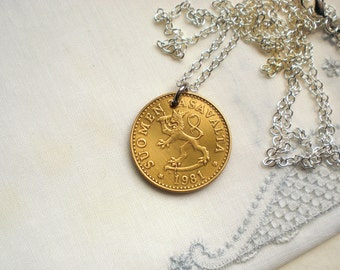 Lion necklace, Men's Leo necklace, Lion coin, Lion keychain, Finland coin, Finland jewellery, Leo keychain, Coin jewellery, 1963, 1978, 1981