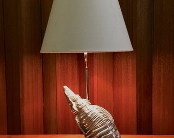 Vintage Frederick Cooper Table Lamp Silver Seashell Conch Shell Modern Beach Decor