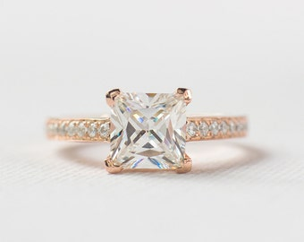 Princess Cut Engagement Ring - Rose Gold Engagement Ring - Promise Ring for her - Sterling Silver Ring - Square cut cz Stone - A26