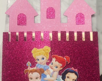 Baby Princess, Castle Invitations, Disney Princess Invitations, Pink castle invitations, Set of 12