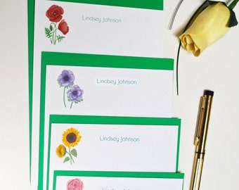 Flower personalized stationery set. Personalized note cards set. Note cards gift for women girls. Custom stationery. Flower note cards set.