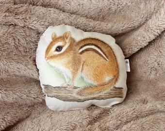 Woodland animal pillow. Chipmunk pillow. Woodland nursery decor. Gift for kids. Nursery pillow. Woodland animal decor. Gift for baby shower.