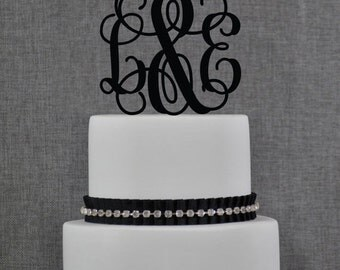 Personalized Monogram Wedding Cake Topper, Elegant Initials Cake Topper, Perfect Engagement or Bridal Shower Gift, Custom Colors - (T052)