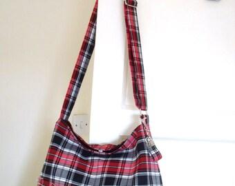Tartan Messenger / Slouchy Bag, Cross body Shoulder Bag /  Plaid Purse / Handbag handmade in Scotland with kilt pin brooch