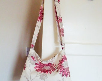 LAST ONE! Floral linen Slouchy Messenger Bag, Cross body Cream, Beige, Red Purse Limited Edition Handbag handmade from Laura Ashley fabric