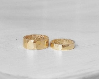 Set of 2 Hammered Fingerprint Bands - His and Hers Actual Fingerprint Rings - Promise Rings - Couple Rings - #FR02H.FM