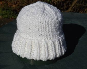 Girl's White Hat, Acrylic Winter Hat, Girl's Snow White Beanie, Bulky Ski Cap, Girl's Warm White Hat, Soft Knit Cap, Girl's Birthday Gift