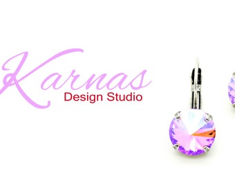 ROSE GLACIER BLUE 12mm Crystal Rivoli Drop Earrings Made With Swarovski Elements *Pick Your Finish *Karnas Design Studio *Free Shipping*