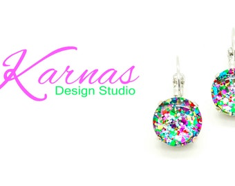 I LOVE CONFETTI 12MM Hand Painted Glass Cabochon Drop Leverback Earrings *Pick Your Finish *Karnas Design Studio *Free Shipping*