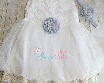 White Girls Special Occasion Dress with Gray Flower, White Flower Girl Dress, Chiffon rosette dress, Boho, Vintage Toddler Dress