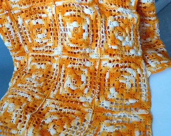 Mod Vintage 70s Crochet Mod Throw Blanket -Orange White Cotton Handmade Afghan -Fashion Shawl -Home Decor -Sofa Chair Bed Nursery Cover