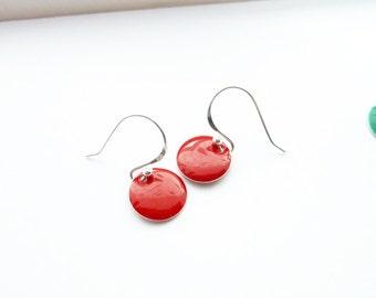 Red Earrings/ Dangle Disc Earrings / Sterling Silver Earrings/ Dainty earrings/ Simple Drop Earrings/ Everyday Earrings/ Summer Earrings