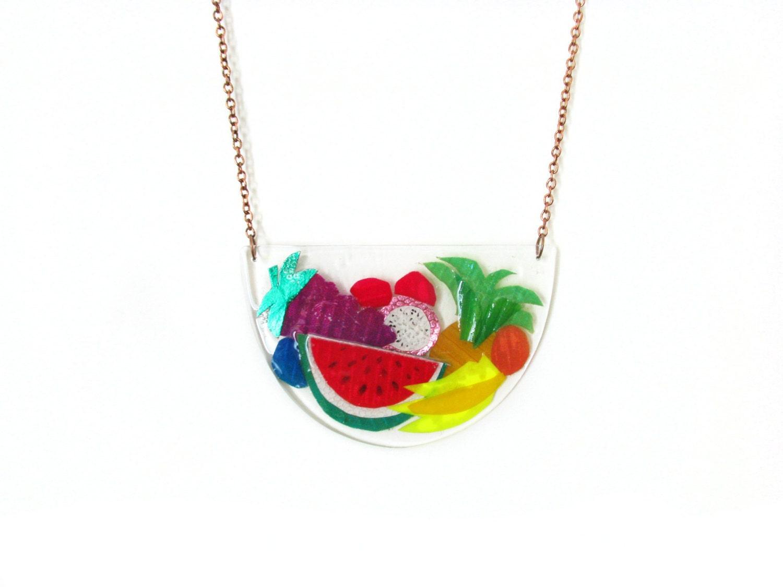 fruit necklace watermelon necklace fruit salad by petiteutile