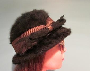 1950's Black vintage hat.