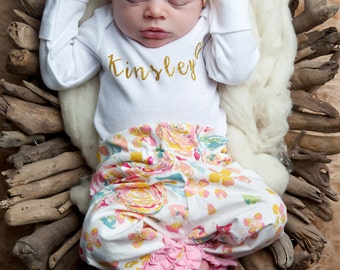 baby girl personalized onesie - gold - baby girl - bodysuit