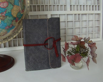 Manual tied travel book A5 leather cover-book Norway-grey Brown Notebook-travel Journal-Travel Book