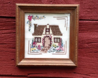 Framed Embroidery of English Thatched Cottage and Garden, 7 1/2 Inch Square Picture, Cross Stitch, Ribbon Embroidery