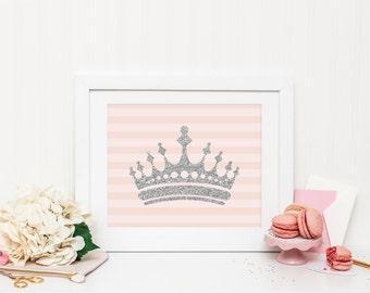 Princess Crown Printable Princess Nursery Decor Princess Wall Art Pink Nursery Decor Silver Glitter Princess Crown Fairytale Nursery Decor
