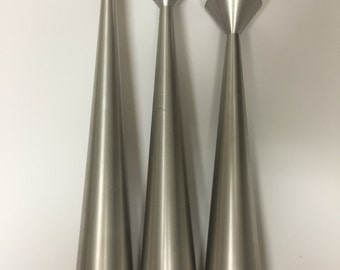 Mid Century Modern Candle Stick Holders Set of 3 Silver Stainless Steel Danish