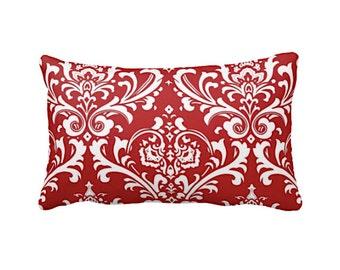 Damask Pillows Red Pillows Decorative Pillows Decorative Throw Pillows Red Throw Pillow Covers Accent Pillows Lumbar Pillows 12x16 Pillows