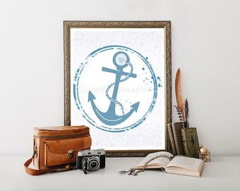 "Anchor Decor Download Print 8""x10"", Blue Anchor Nursery Decor,Anchor Decor, Anchor Digital Download, Nursery Download, Anchor Printable 0010"