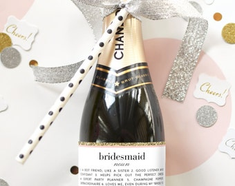 Custom Bridesmaid Proposal Gift - Bridesmaid Wine Bottle Label - Asking Bridesmaid Will You Be My Bridesmaid Champagne Label Gift