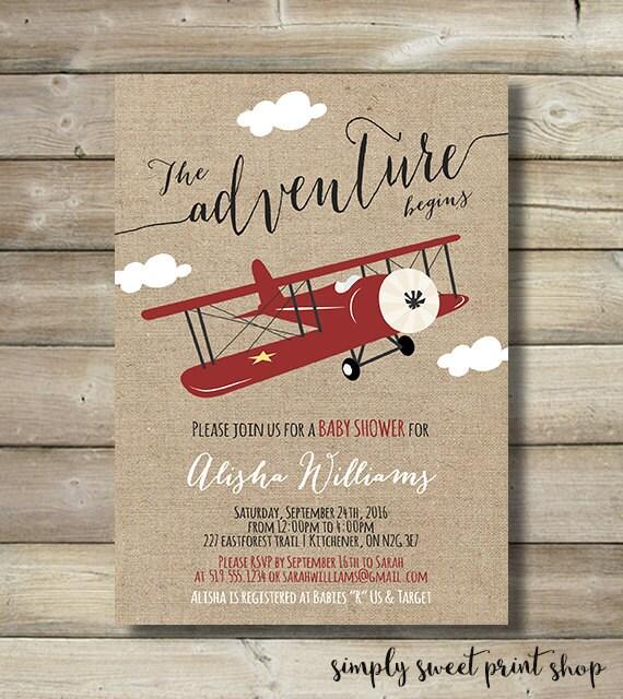 Airplane Boy Baby Shower Invite Invitation by ...