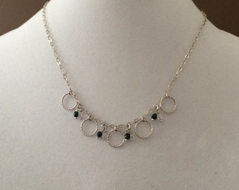 """Sterling Silver Ring And Bead Necklace 18"""""""