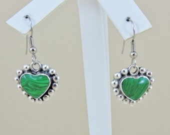 Sterling Silver And Malachite Heart Dangle Earrings