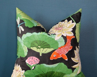 Chinoiserie Pillow Cover - Black Pillow Cover - Koi Pillow Cover - Fish Pillow Cover - Designer Pillow Cover - Asian Pillow Cover - Lotus