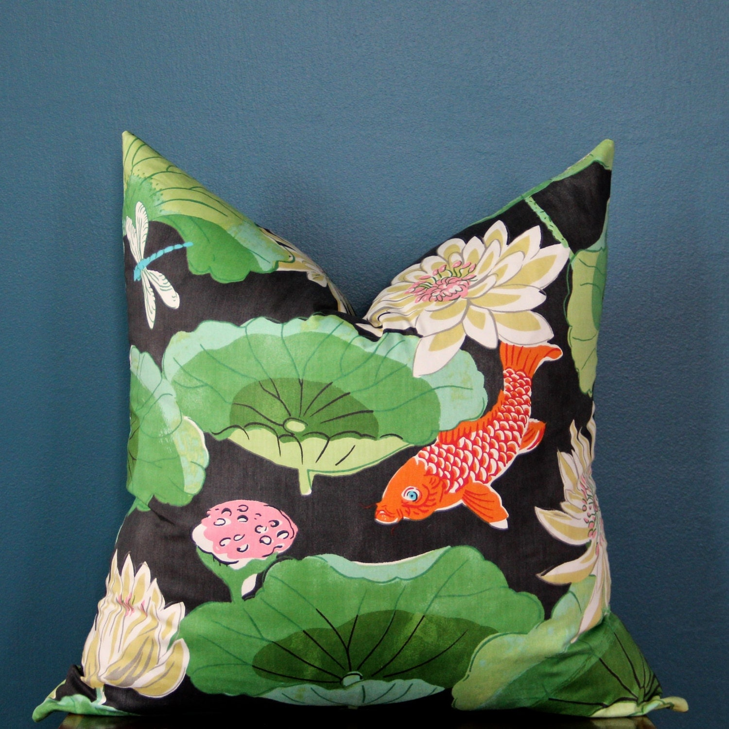 Chinoiserie pillow cover black pillow cover koi pillow for Koi fish pillow