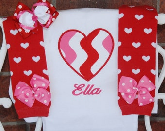 Baby Girl Valentine's Day Outfit! Baby girl first Valentine's Day outfit with applique top, red heart leg warmers, and matching hair bow