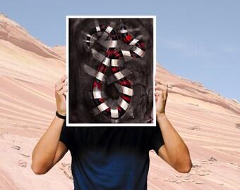 art print, southwestern, wall art print, man cave, dark art, snake print, serpent, animal art, animal illustration,  18x24