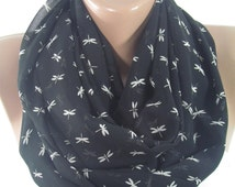 Dragonfly Scarf Black Scarf Shawl Infinity Scarf Animal Scarf Spring Women Fashion Accessories Mothers Day From Daughter Son Husband For Mom