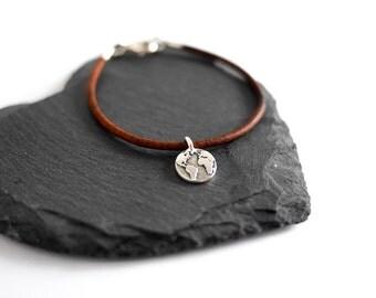 Earth Map Bracelet; leather, jewellery, travel gift, backpacking, roadtrip, wanderlust, world, atlas, adventure, brown, explore, him her