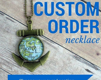 CUSTOM Map Necklace: Personalize with the Vintage Map Location of YOUR CHOICE [Gift for Her, Bridal Gift, Travel Gift, World Map Jewelry]