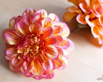 Orange and Pink Chrysanthemum – silk flower – artificial flower – flower headpiece – wedding décor – gift idea (FB28-1-H)