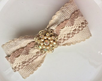 Brown Hair Bow Barrette Retro Cappuccino Hair Clip Lace Wedding Barrette Vintage Hair Jewelry Pearl Hair Clip Beige Bow Chanel Style Clip