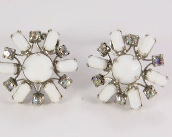 Vintage Weiss Rhinestone and Milk Glass Clip On Earrings Snowflake Earrings AB Earrings 1950s Perfect Gift Prom Dress Jewellery Wedding